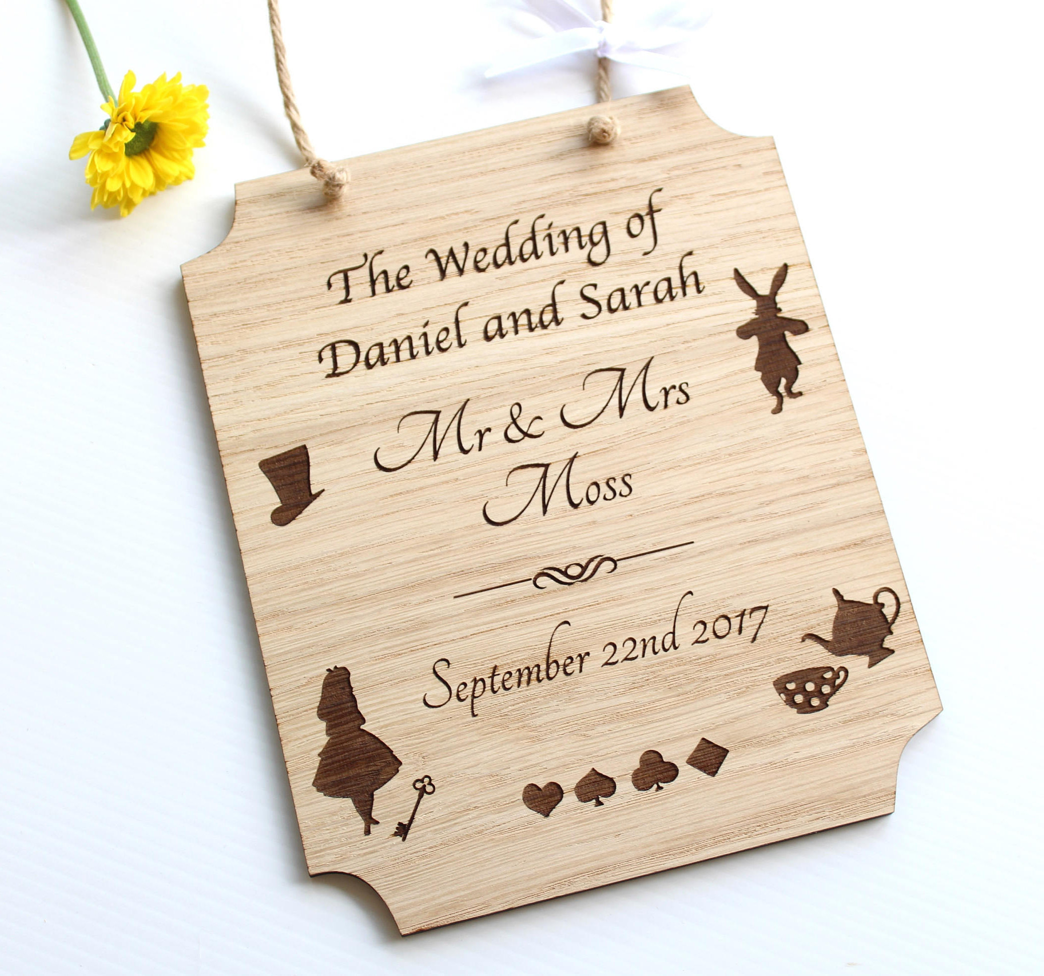 Alice in Wonderland Wedding Gift, Alice in Wonderland wooden Plaque
