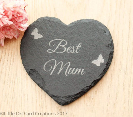 Best Mum Heart Slate Coaster, Mother's Day Gift