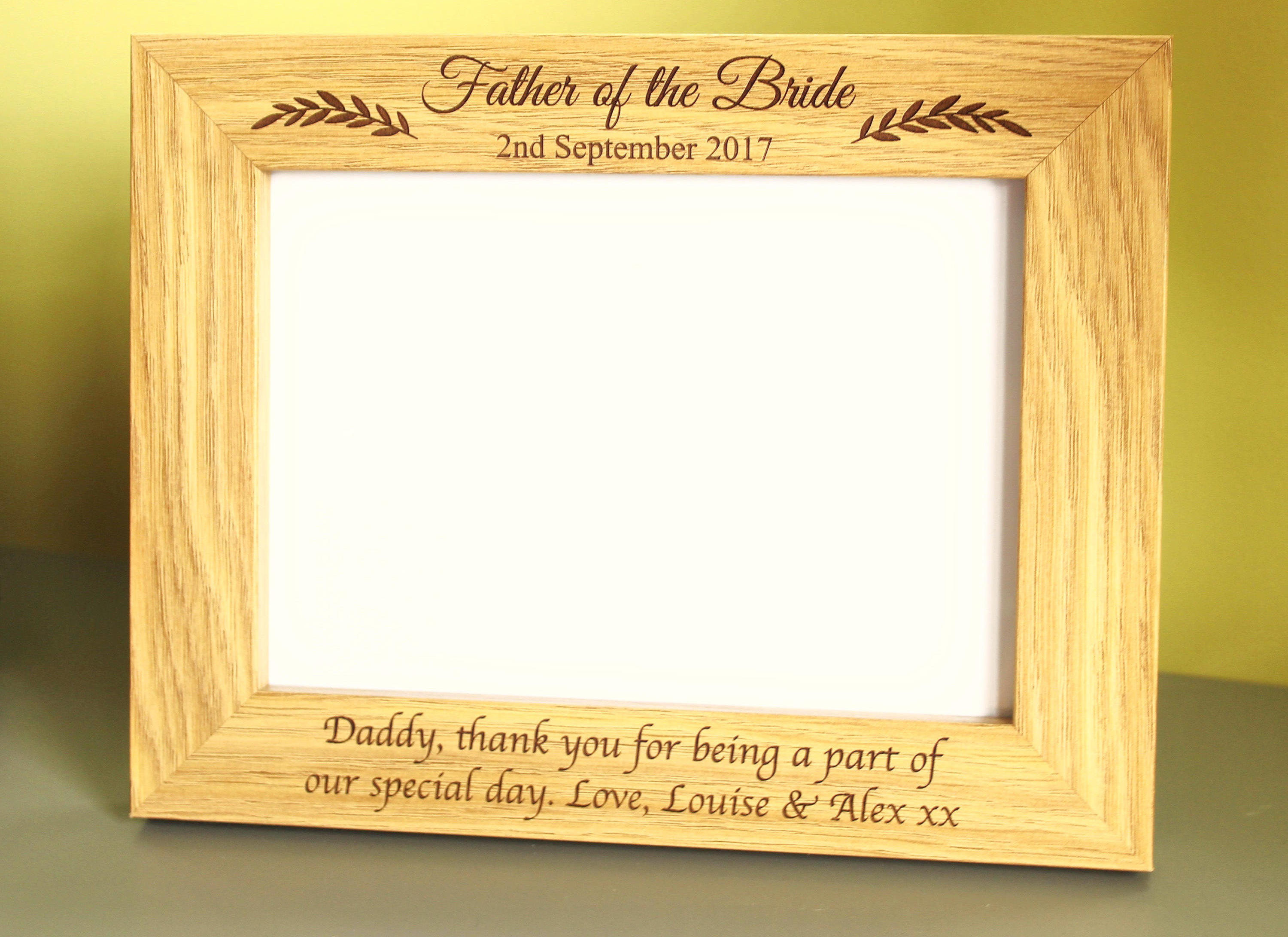 Father of the Bride Personalised Photo Frame, Thank you gift for Father of the Bride