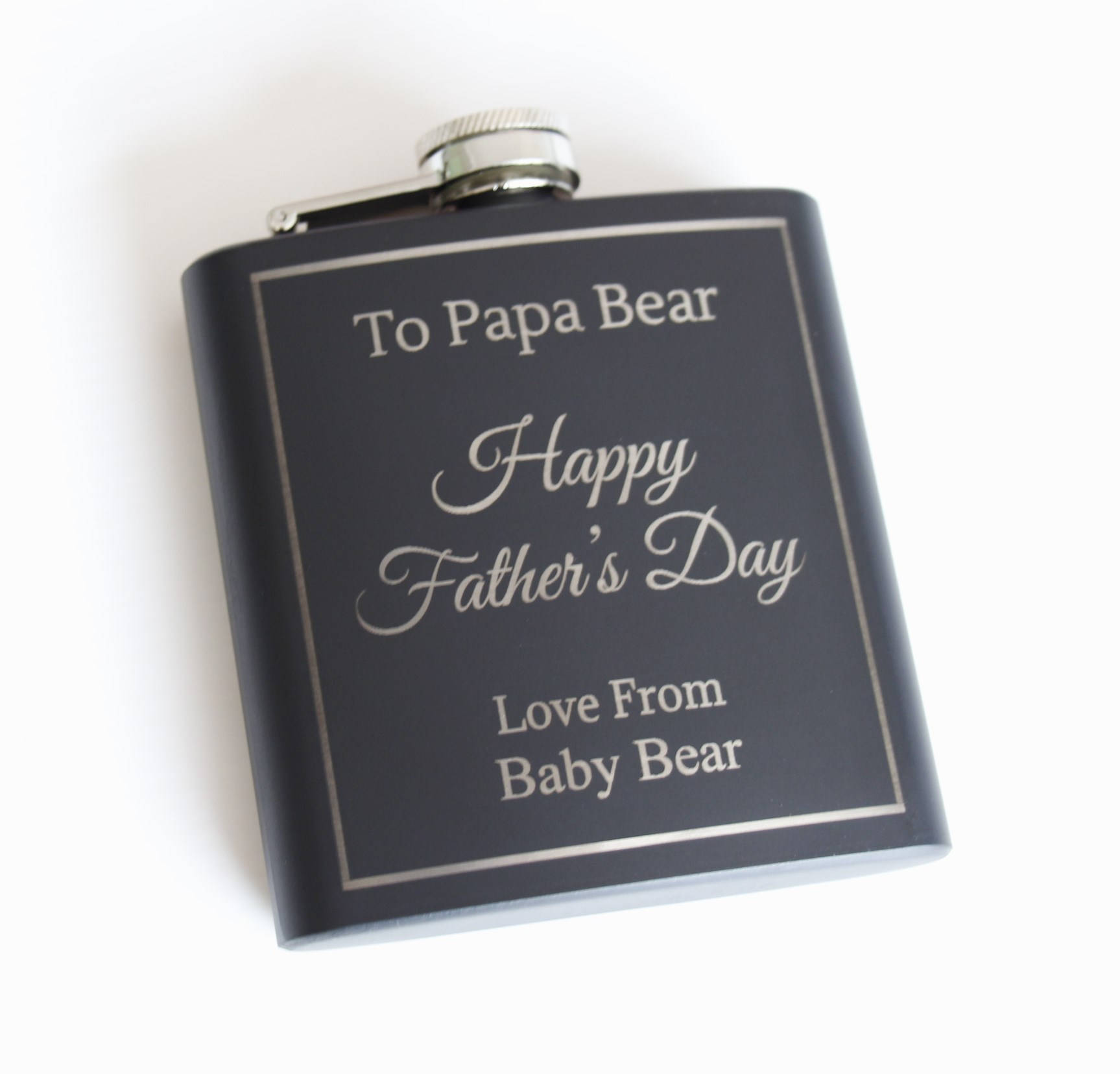 Father's Day Personalised engraved Hip Flask, Black stainless steel hip flask