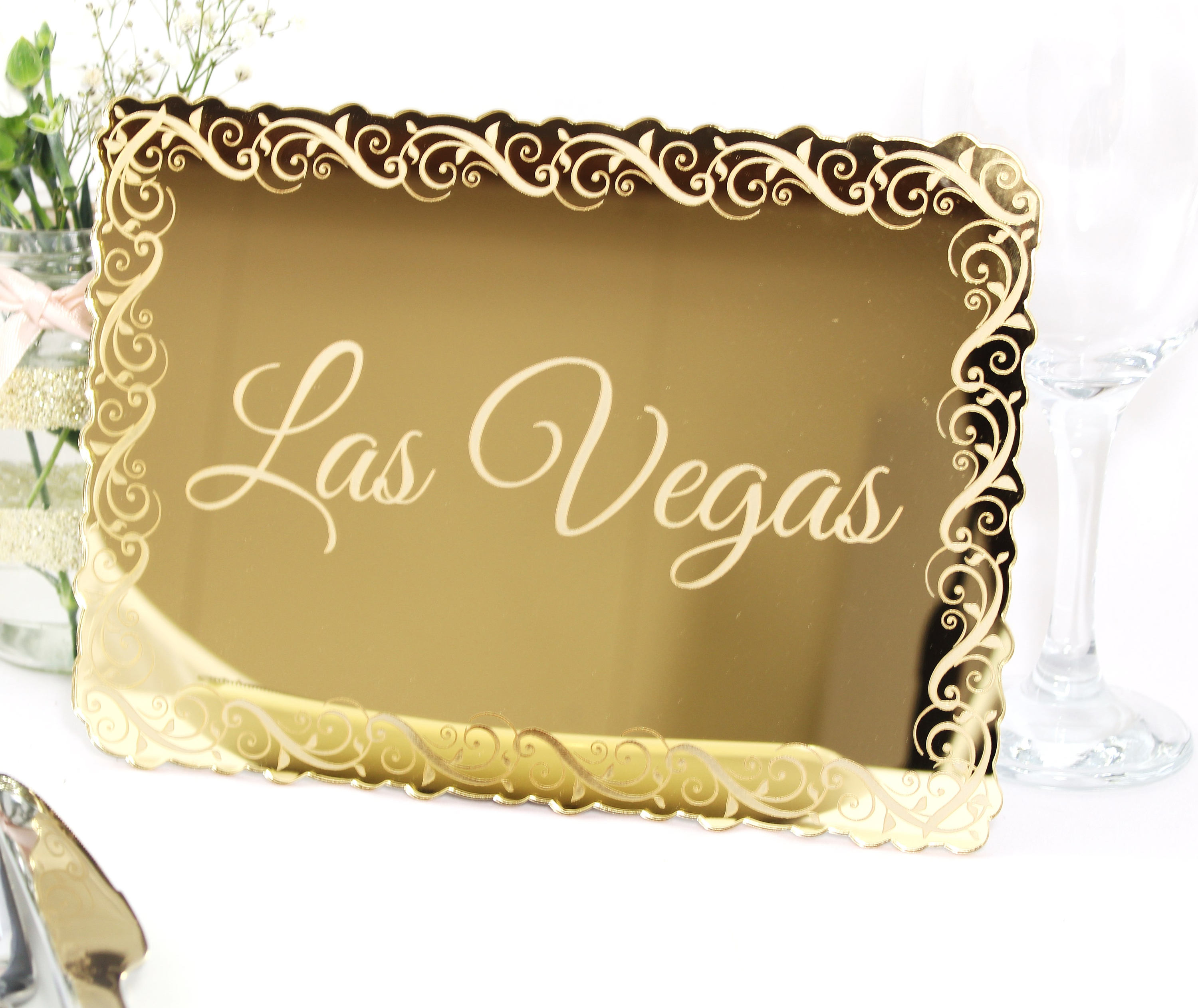 Gold Mirror Wedding Table Names, Gold Mirror Perspex Table Numbers