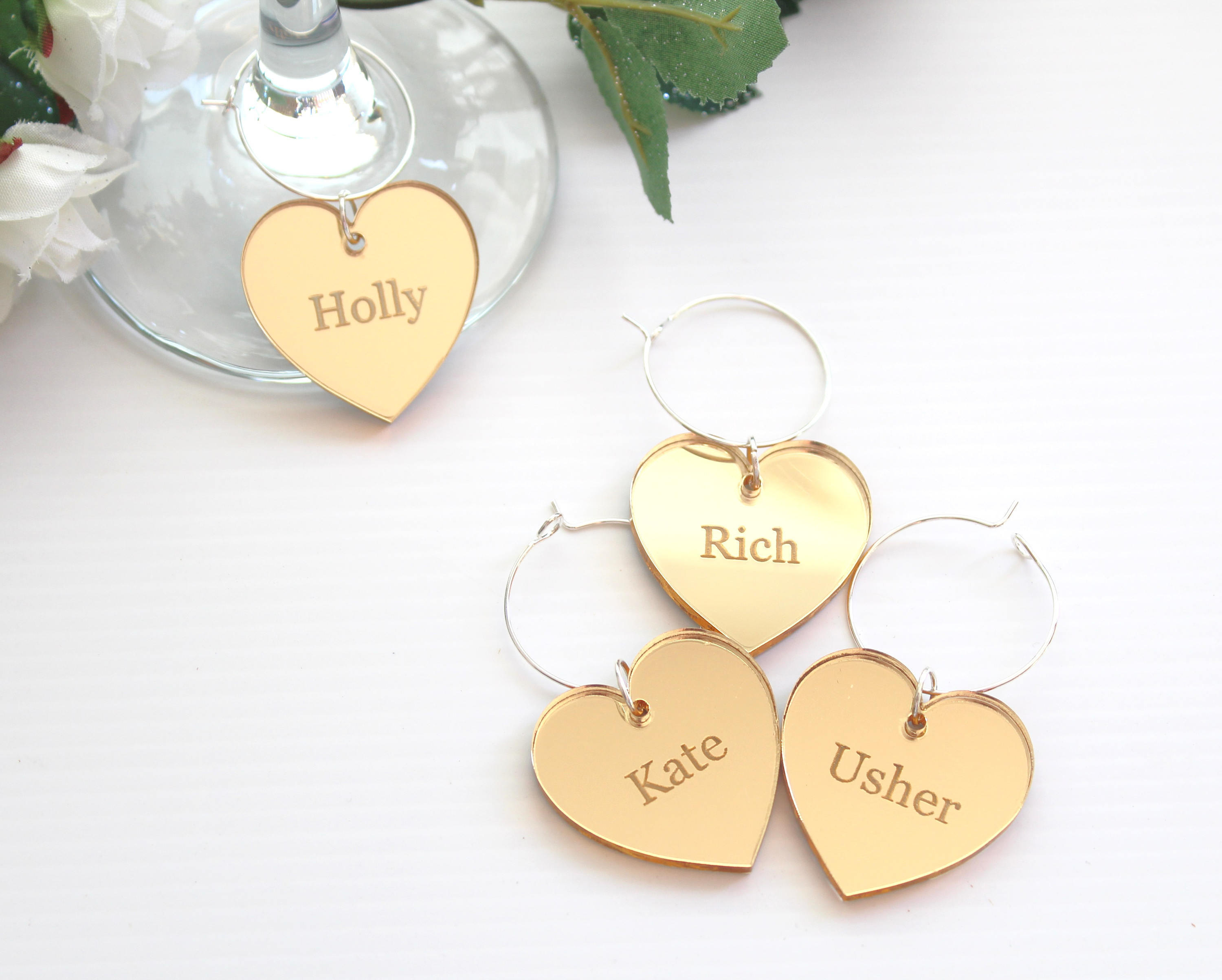 Gold Mirror Wine Glass Charms, Wedding Favour ideas – Little Orchard ...