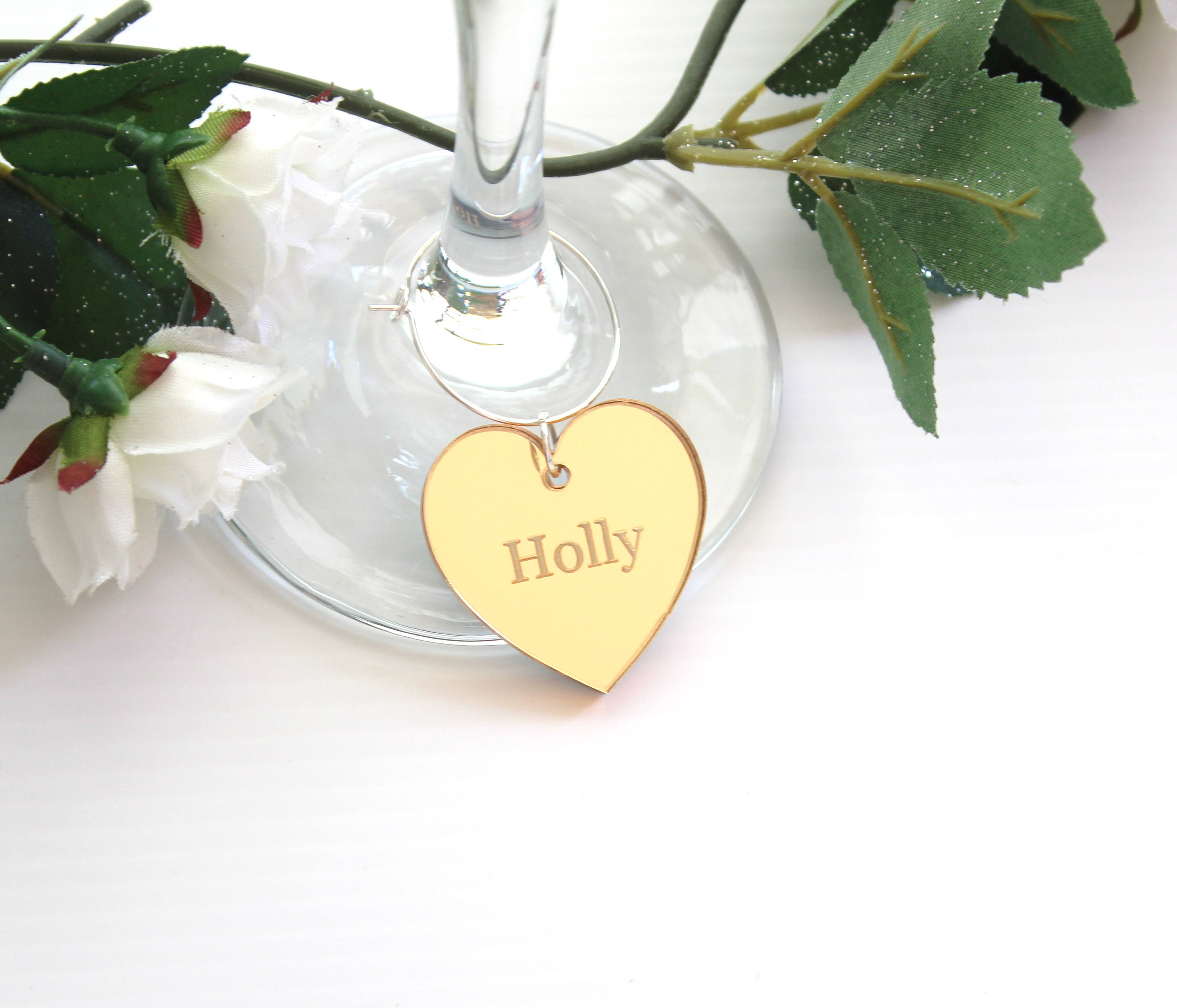 Gold Mirror Wine Glass Charms, Wedding Favour ideas