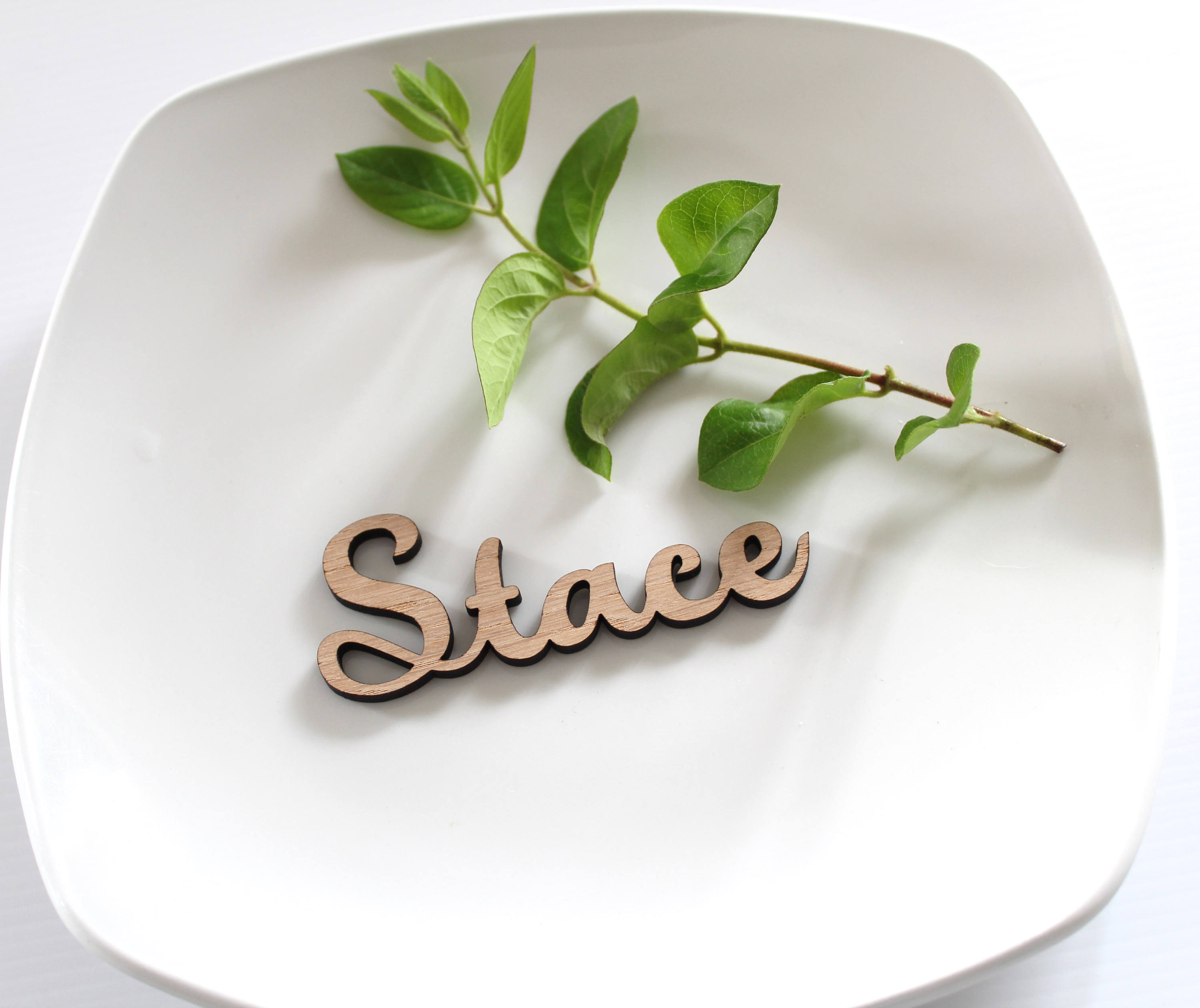 Laser Cut Wooden Wedding place names, wooden name place cards