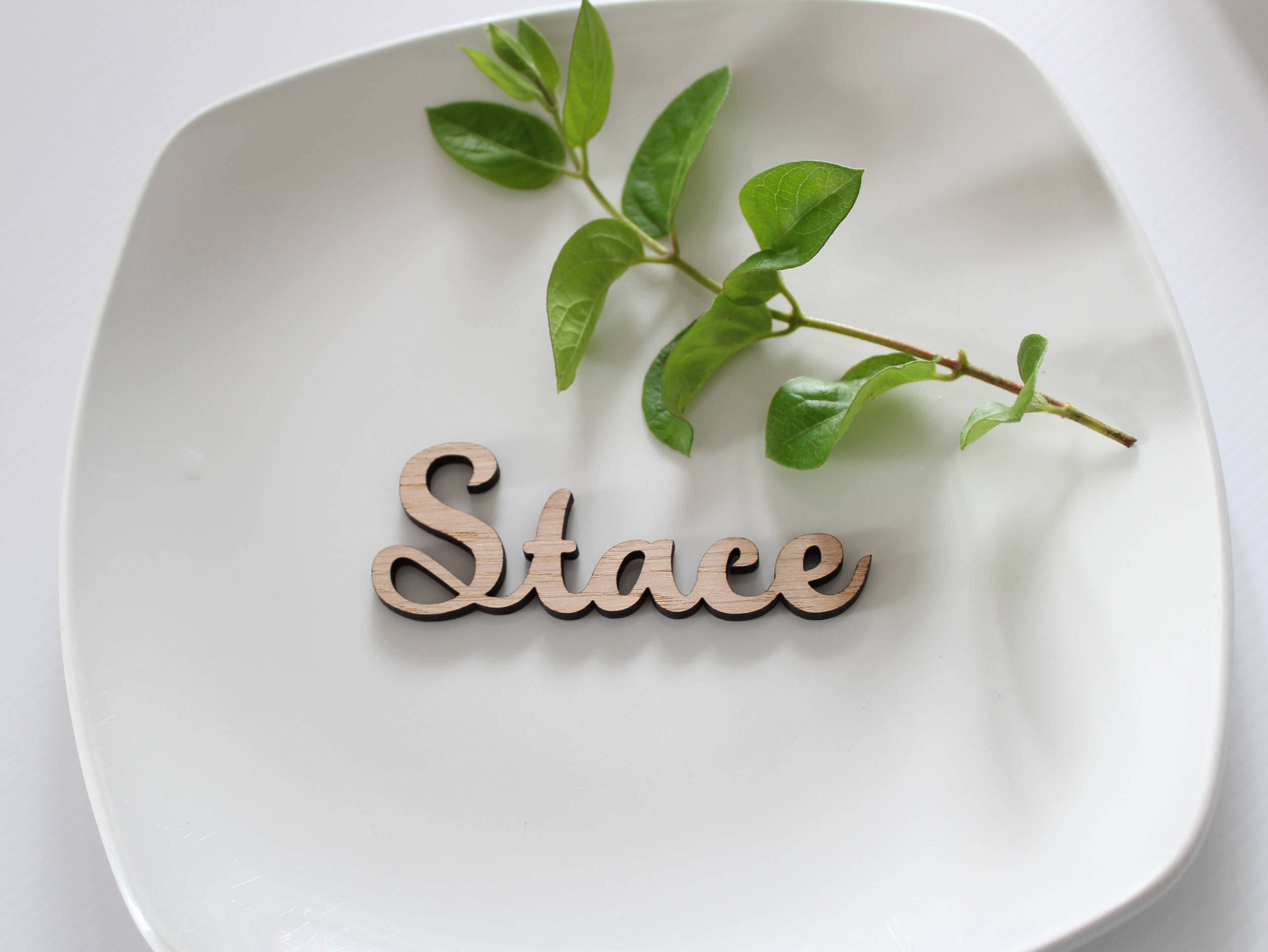 Laser Cut Wooden Wedding place names wooden name place cards