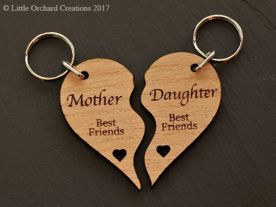 Mother daughter Keyring, Personalised Mother-Daughter Wooden Heart Keyring