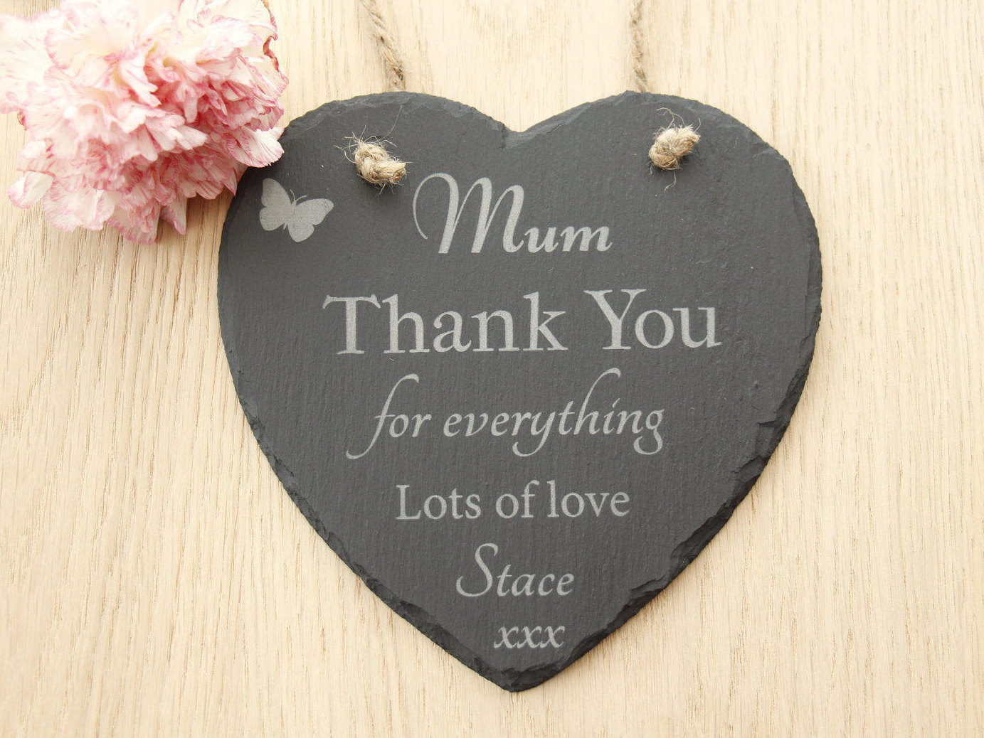 Mum Thank you for Everything Heart Plaque, Mum Heat Slate Plaque