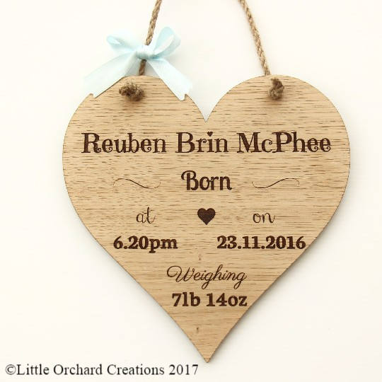 New Baby Boy Wooden Plaque, Personalised New Baby Gift