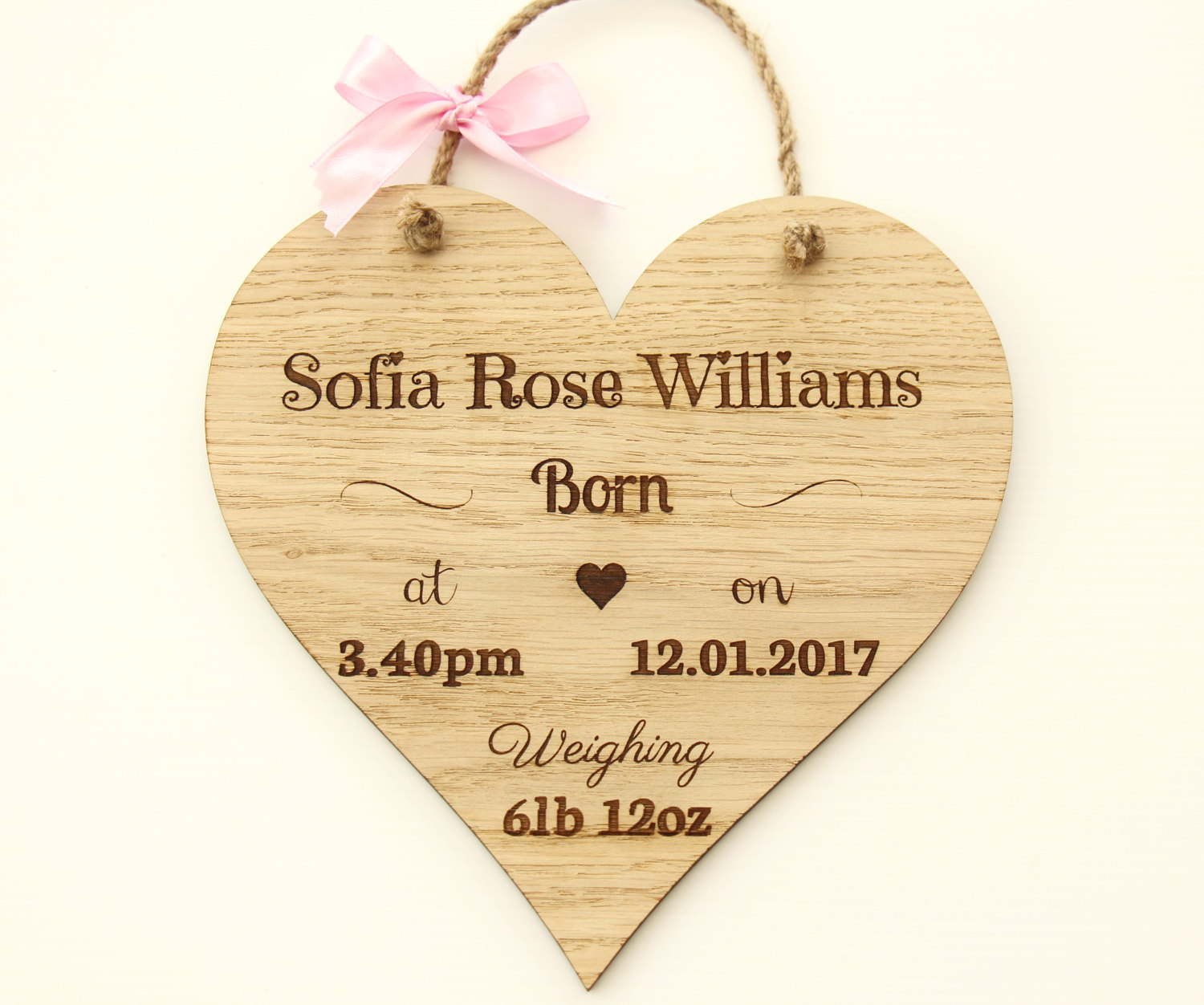 New Baby Girl Wooden Plaque, Personalised New Baby Gift