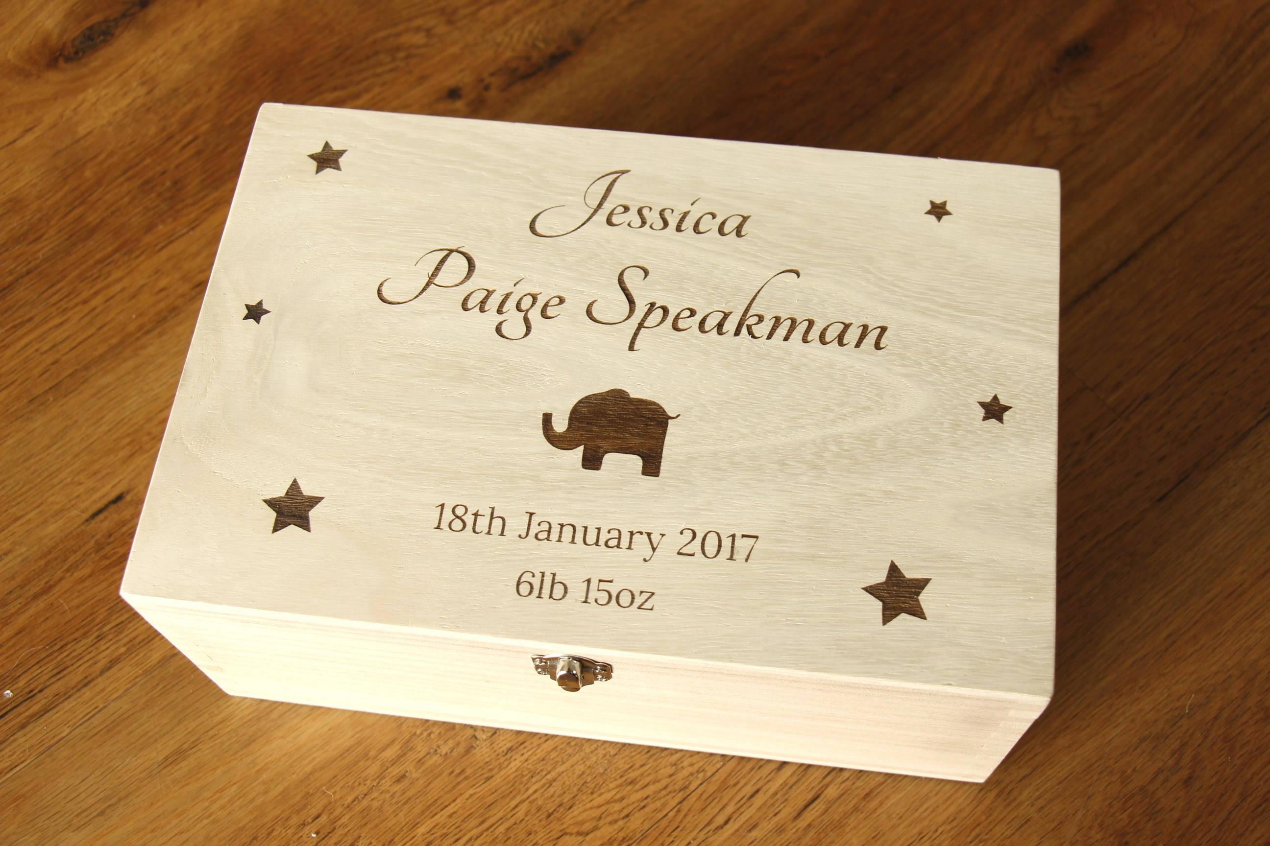 Personalised Baby Memory Box, Personalised Baby Keepsake Box