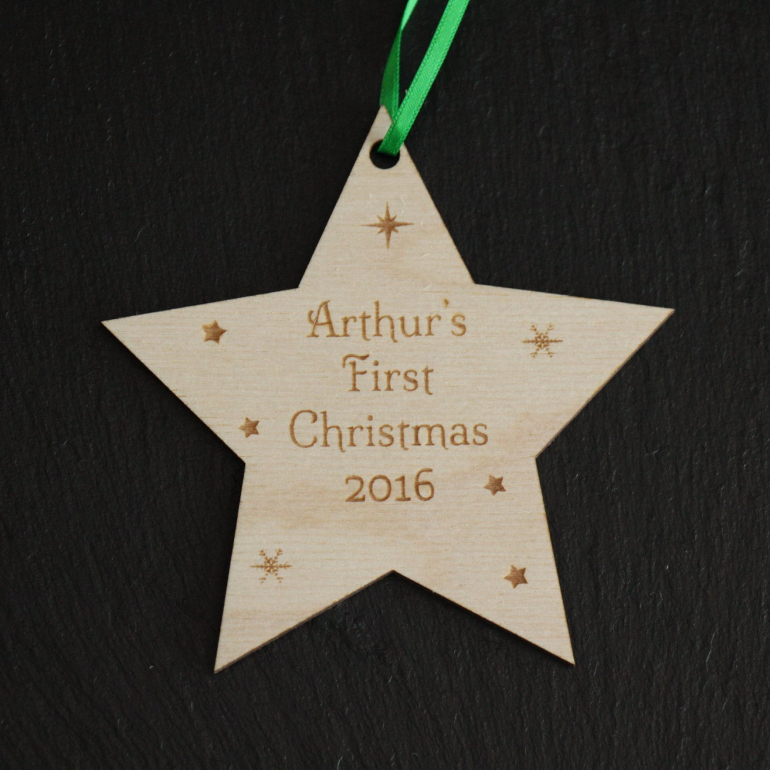 Personalised Baby's First Christmas Decoration, Wooden Baby's First Christmas Tree Decoration