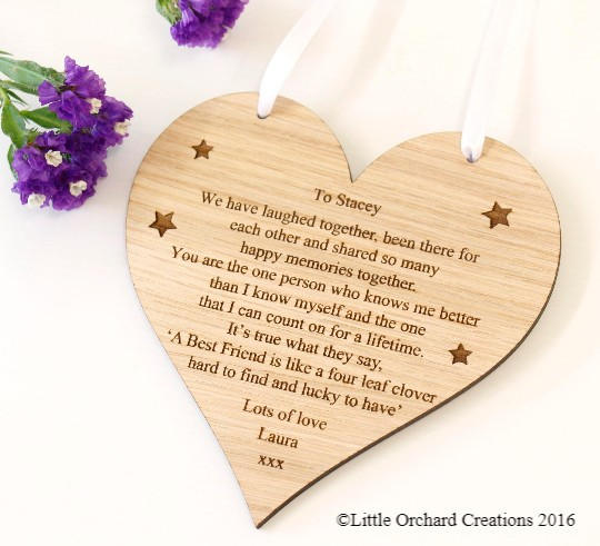 Personalised Best Friend Plaque, Personalised Friend Wooden Plaque