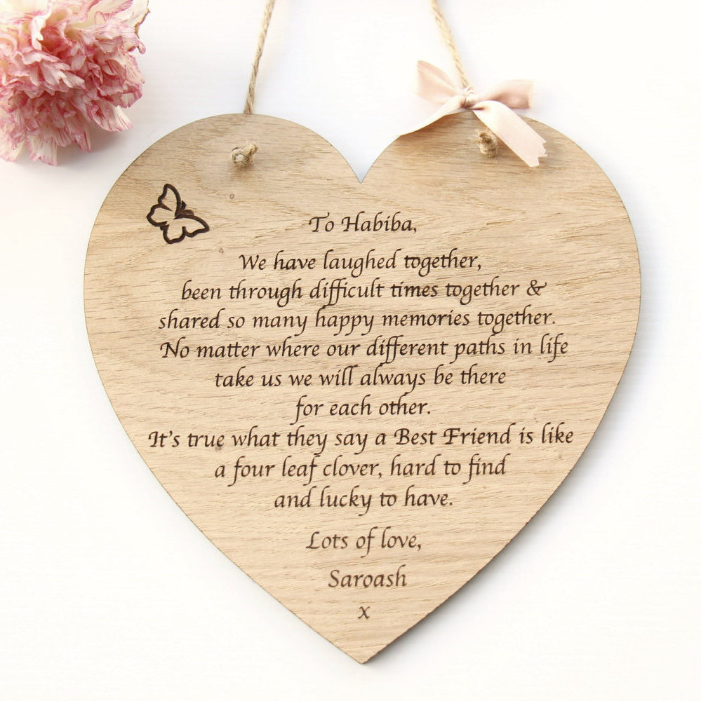 Personalised Best Friend Wooden Plaque, Personalised Heart Wooden Plaque