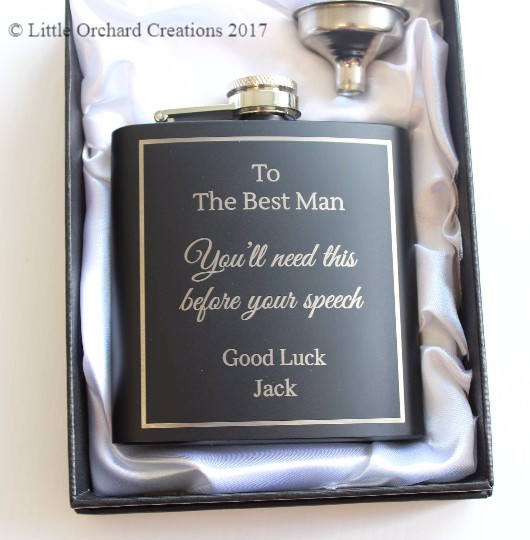 Personalised Best Man Hip Flask, Best Man Hip Flask
