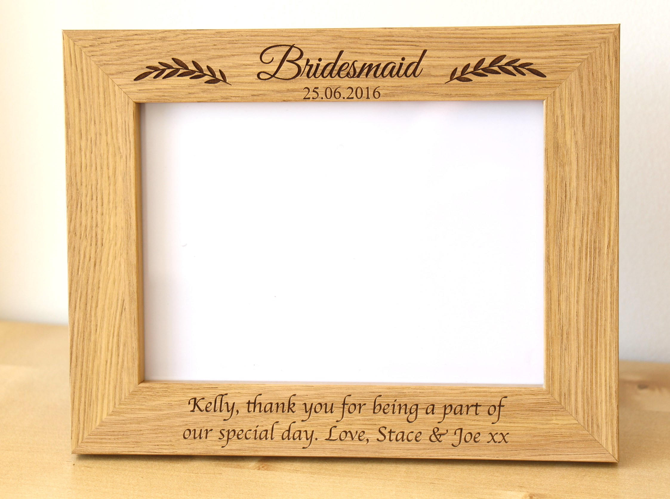 Personalised Bridesmaid Photo Frame, Maid of Honour Photo Frame