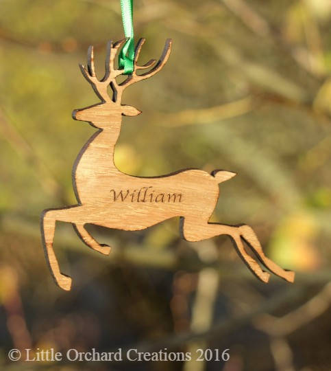 Personalised Christmas Reindeer Decoration, Christmas Tree Decoration