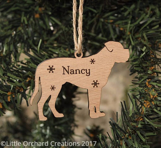 Personalised Dogue De Bordeaux Decoration, Dogue De Bordeaux Christmas Decoration