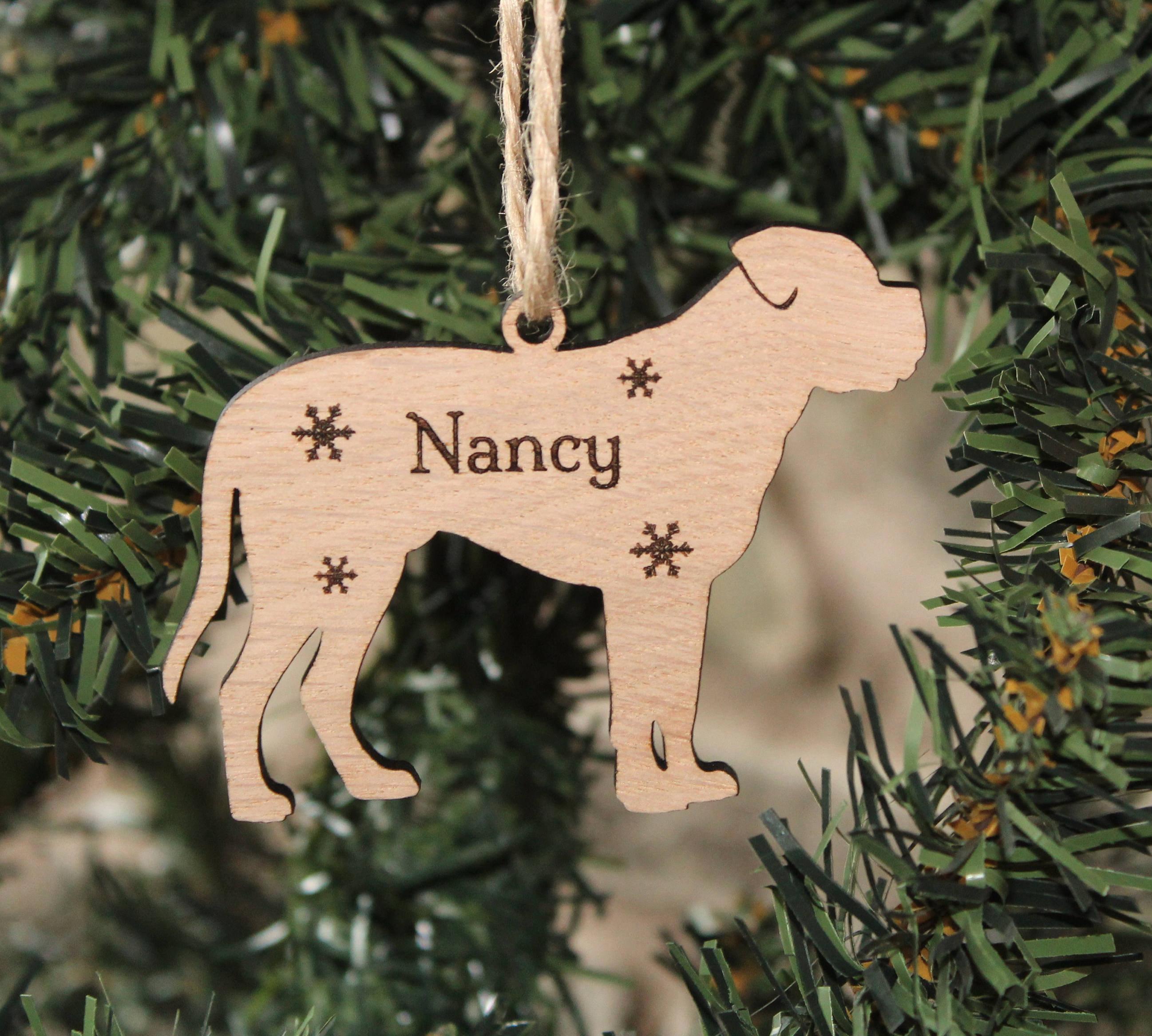 Personalised Dogue De Bordeaux Decoration, Dogue De Bordeaux Christmas Decoration