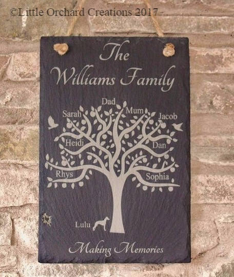 Personalised Family Tree Slate Plaque, Family Tree Plaque