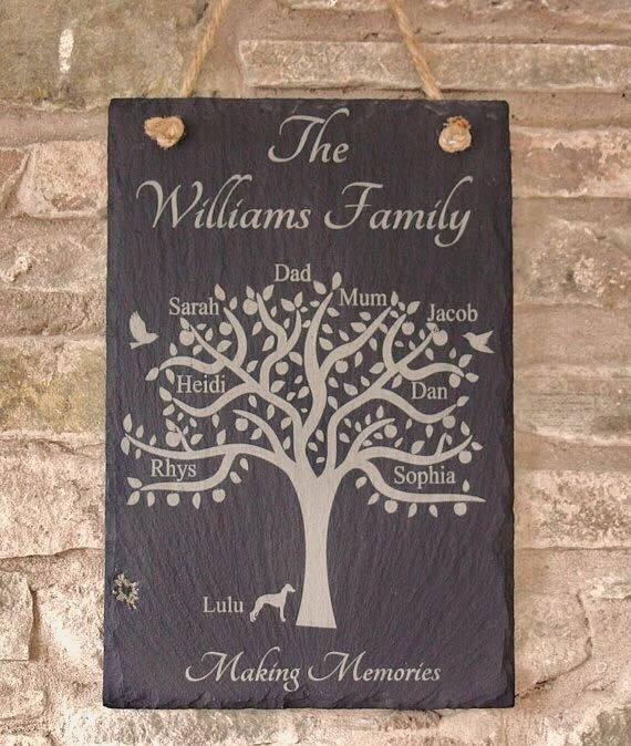 Personalised Family Tree Slate Plaque, Family Tree Plaque