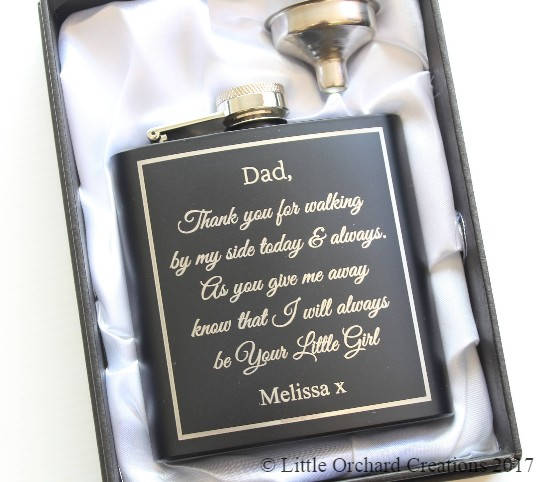 Personalised Father of the Bride Hip Flask, Dad Thank You Wedding Gift