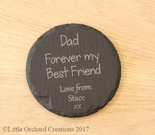 Personalised Fathers day slate coaster, Fathers day gift idea