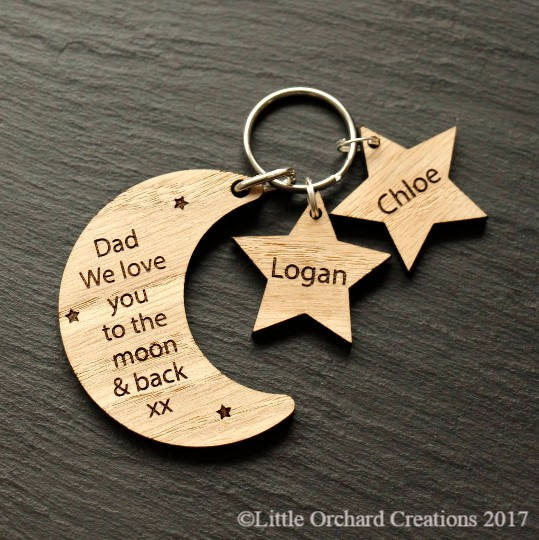 Personalised Father's Day Wooden Charm Keyring, Personalised Dad Keyring Gift