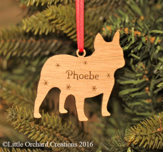 Personalised French Bulldog Decoration, French Bulldog Christmas Decoration