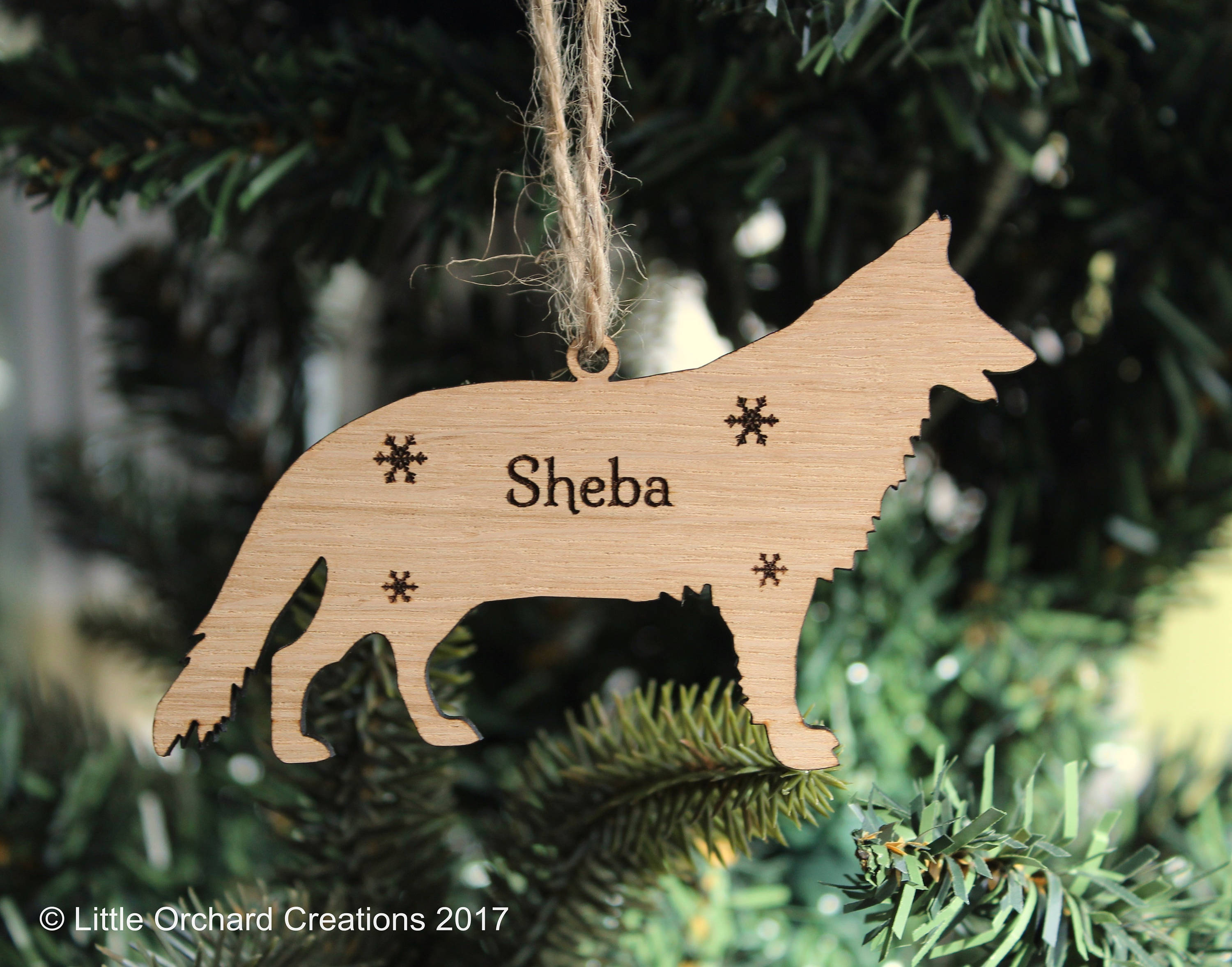 Personalised German Shepherd Decoration, German Shepherd Christmas Tree Decoration