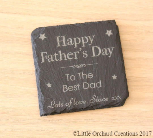 Personalised Happy Father's Day Slate Coaster, Father's Day Gift Idea