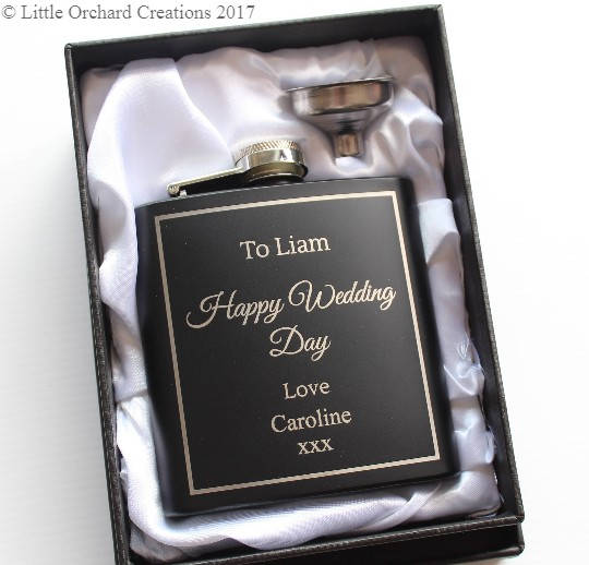 Personalised Hip Flask, Engraved Black Hip Flask