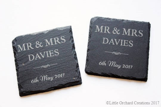 Personalised Mr & Mrs Slate Coasters, Slate Coasters