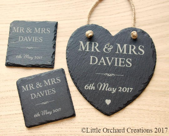 Personalised Mrs & Mrs Slate Plaque and Coaster Set, Mr and Mrs Gift Set
