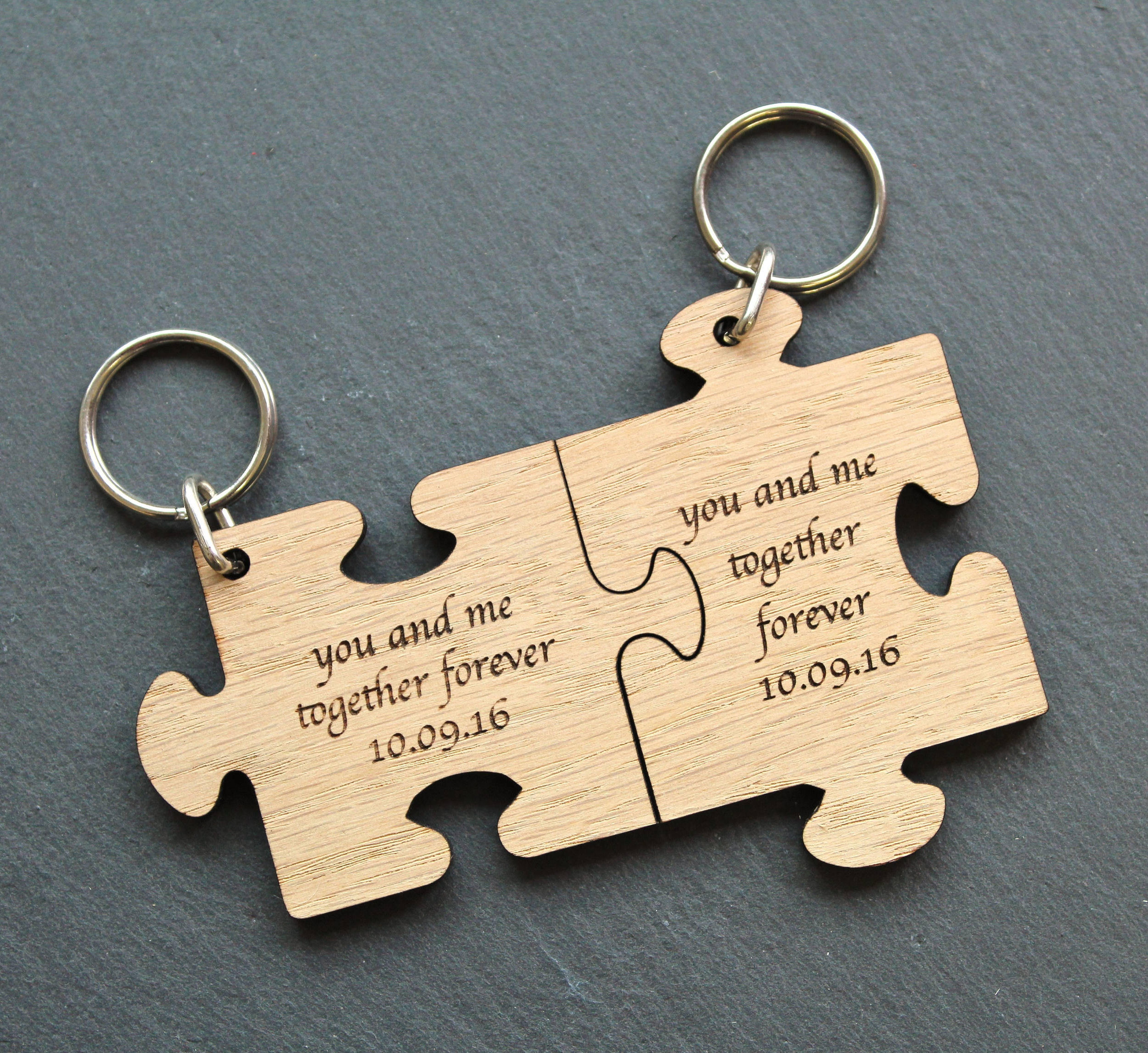 Personalised Puzzle piece keyring, Wooden Jigsaw piece keyring
