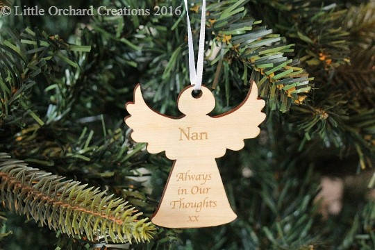 Personalised Remembrance Angel Christmas Decoration, Angel Christmas tree decoration