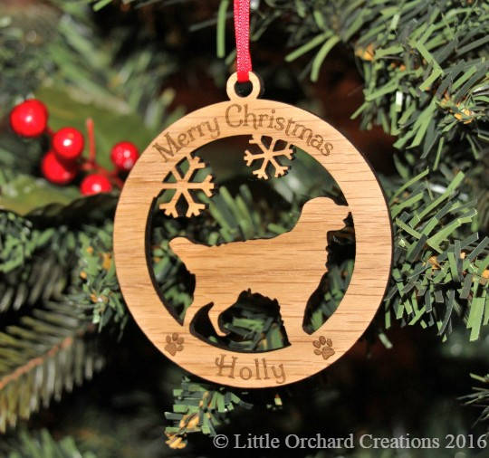 Personalised Retriever Dog Bauble, Personalised Dog Decoration