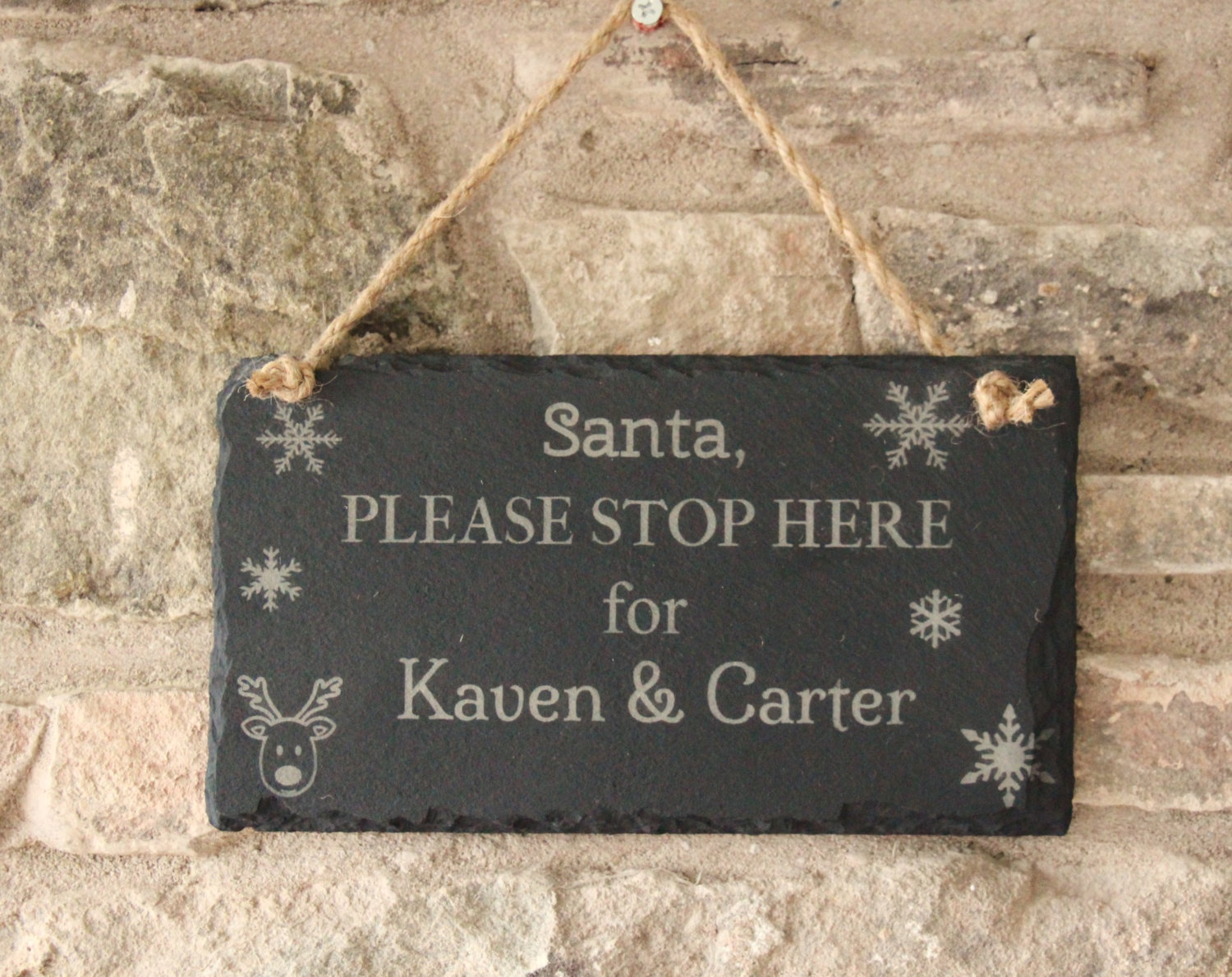Personalised Santa Please Stop Here Sign, Christmas Hanging Sign