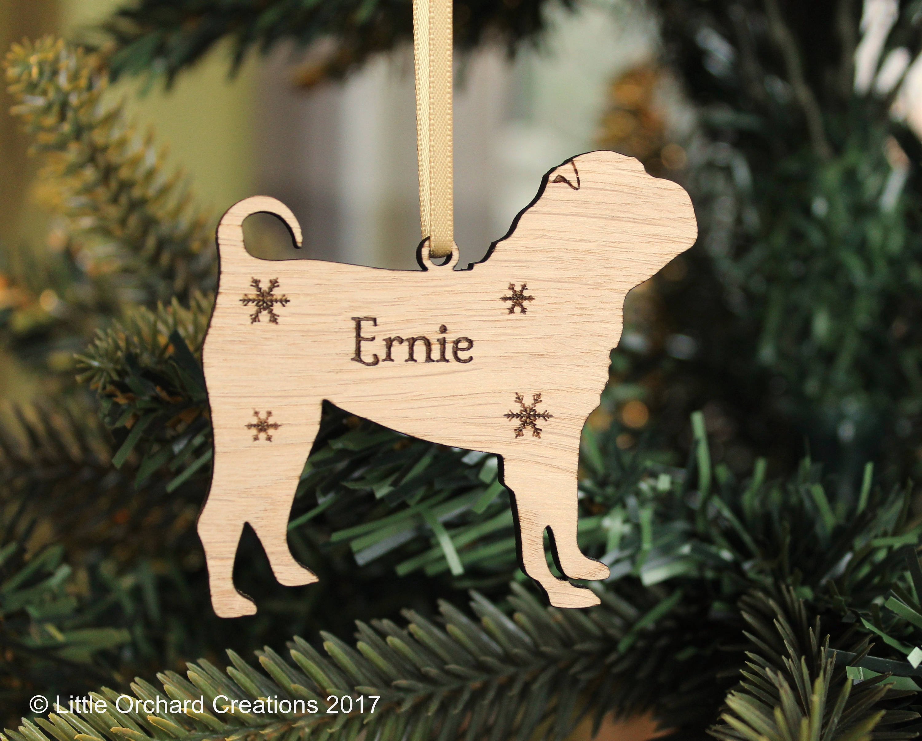 Personalised Shar Pei Decoration, Shar Pei Christmas tree decoration