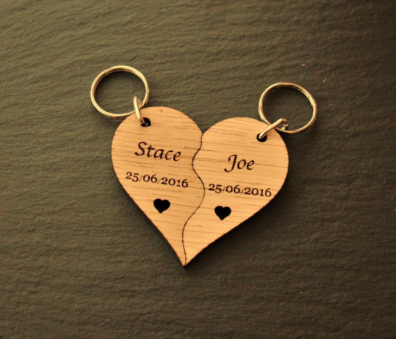 Personalised Split Keyring, Wooden Heart Keyring