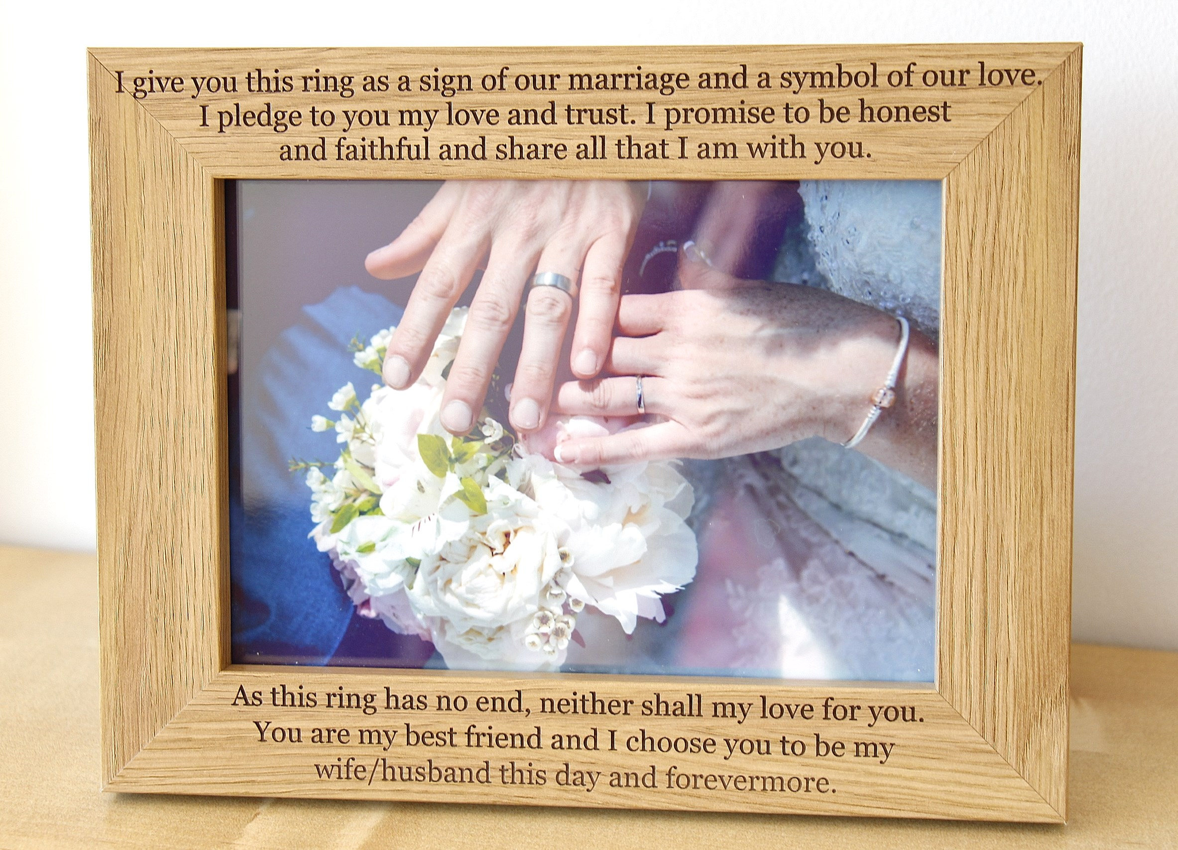 Personalised Wedding Photo Frame, Wedding Vows Photo Frame