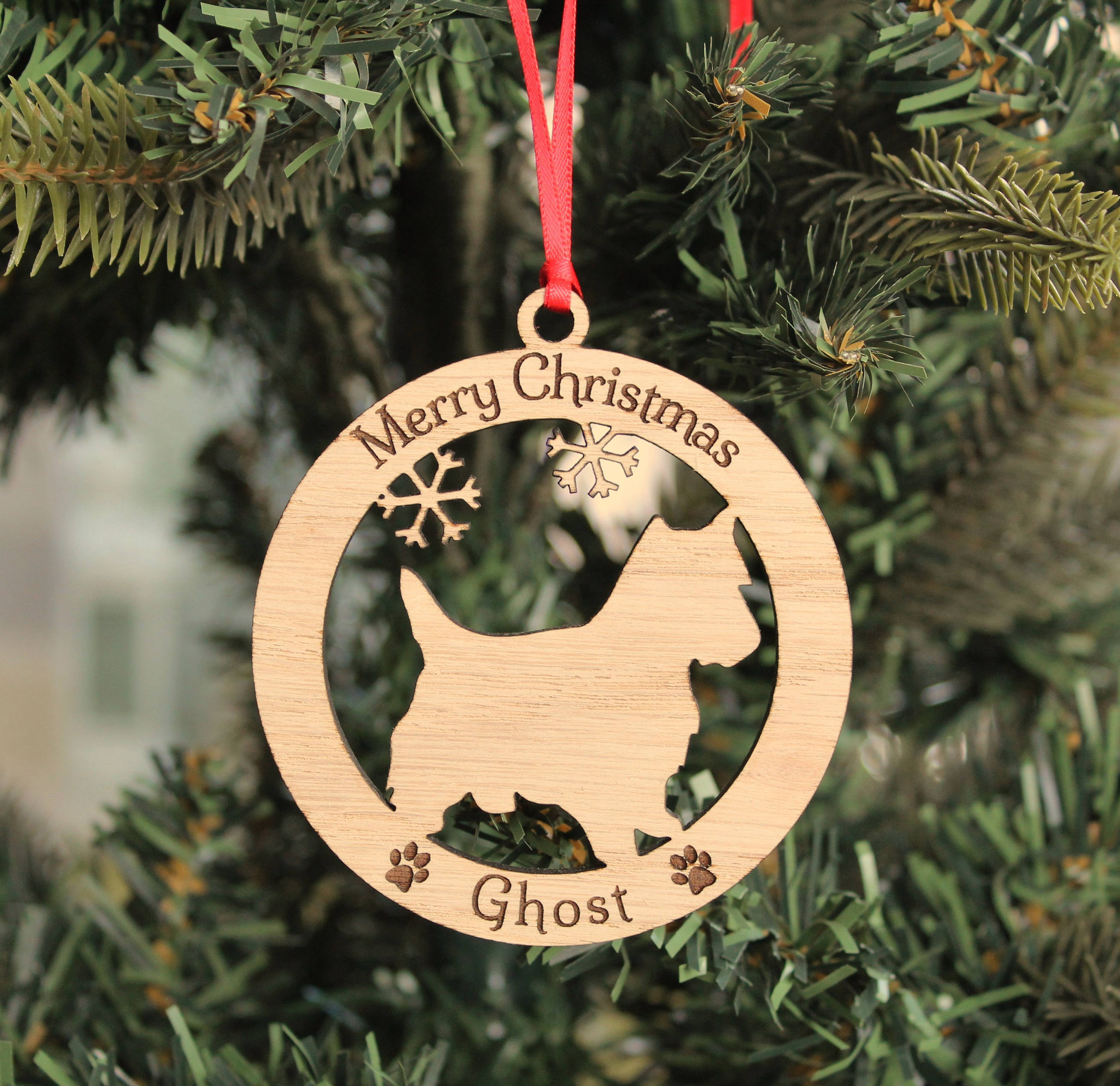 Personalised Westie Dog Bauble, Personalised Dog Decoration