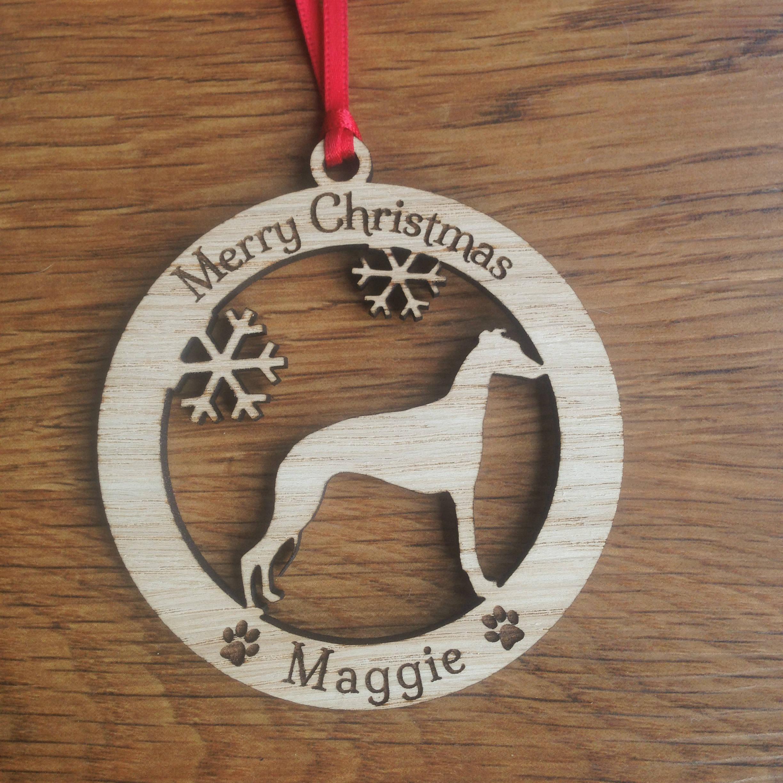 Personalised Whippet Dog Bauble, Personalised Dog Decoration