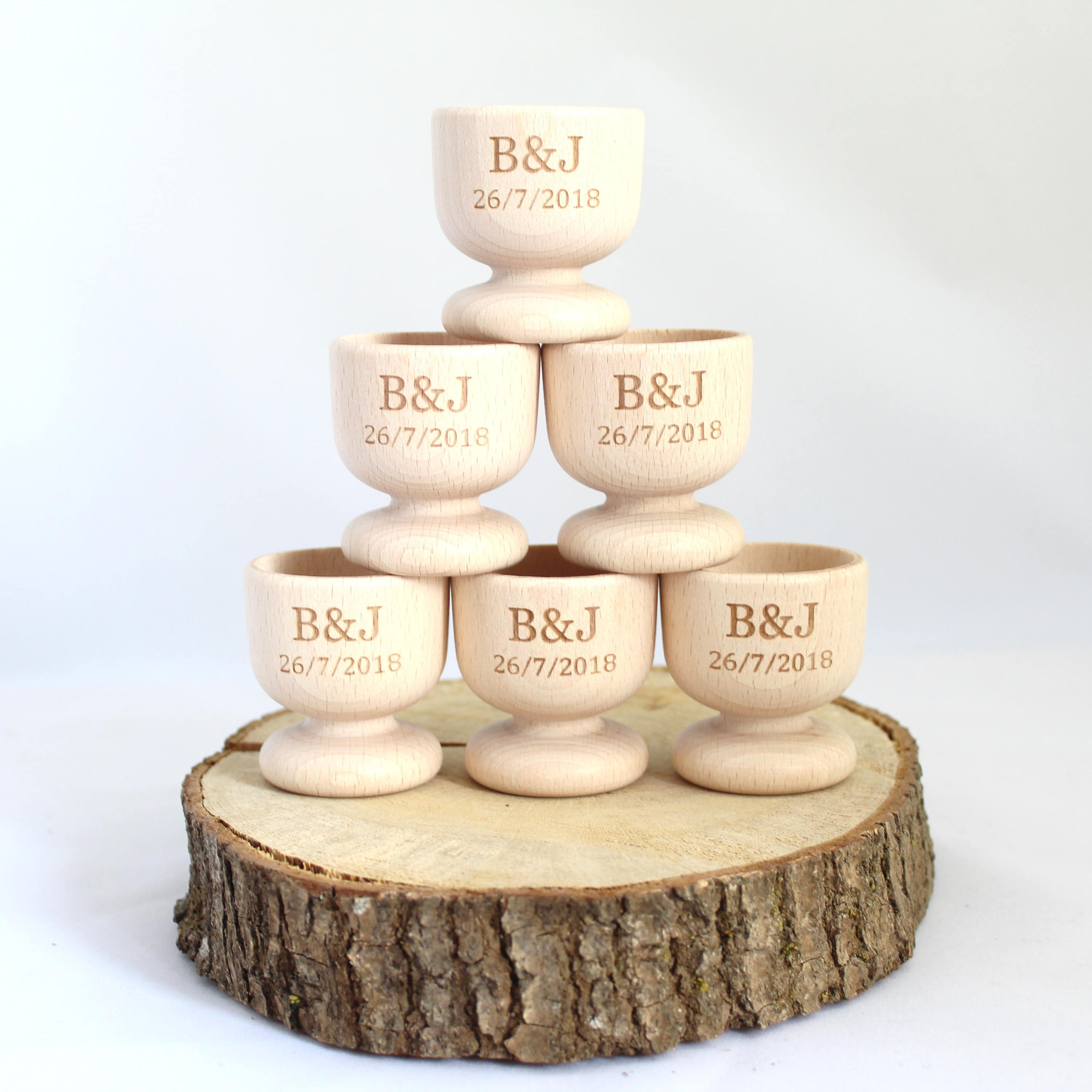 Personalised Wooden Egg Cups, Wedding Favour Egg Cup