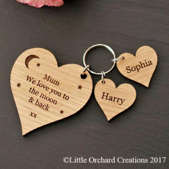 Personalised Wooden Heart Charm Keyring, Personalised Keyring Gift