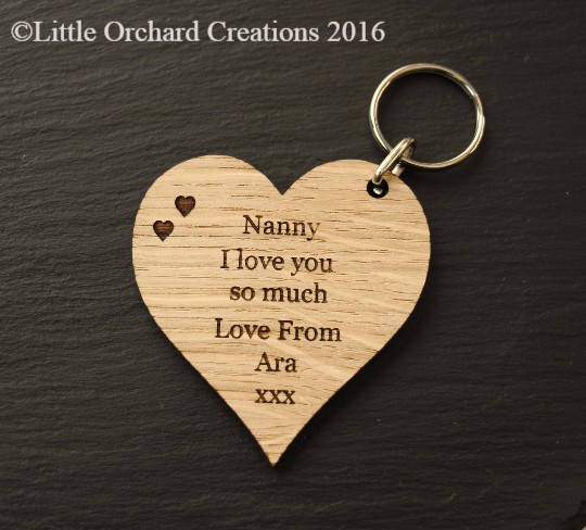 Personalised Wooden Heart Keyring, Nanny wooden Keyring