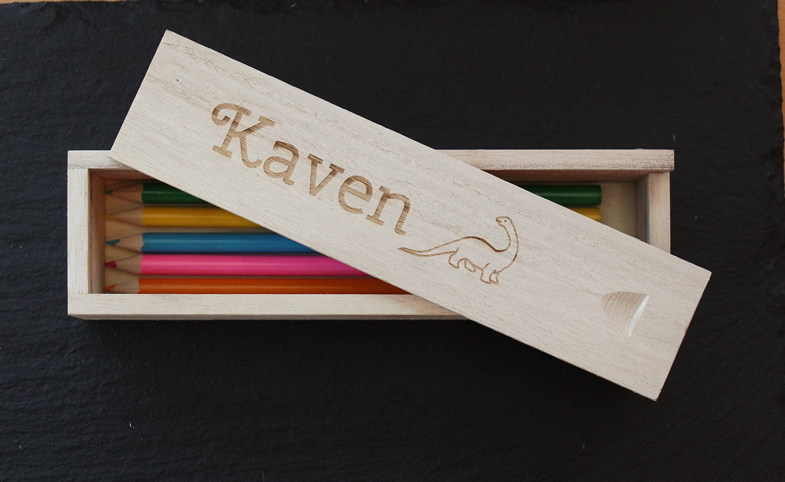 Personalised Wooden Pencil Box, Children's Personalised Pencil Box