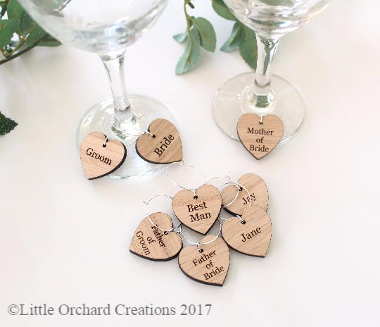 Wedding Favour Ideas, Wine Glass Charms – Little Orchard Creations