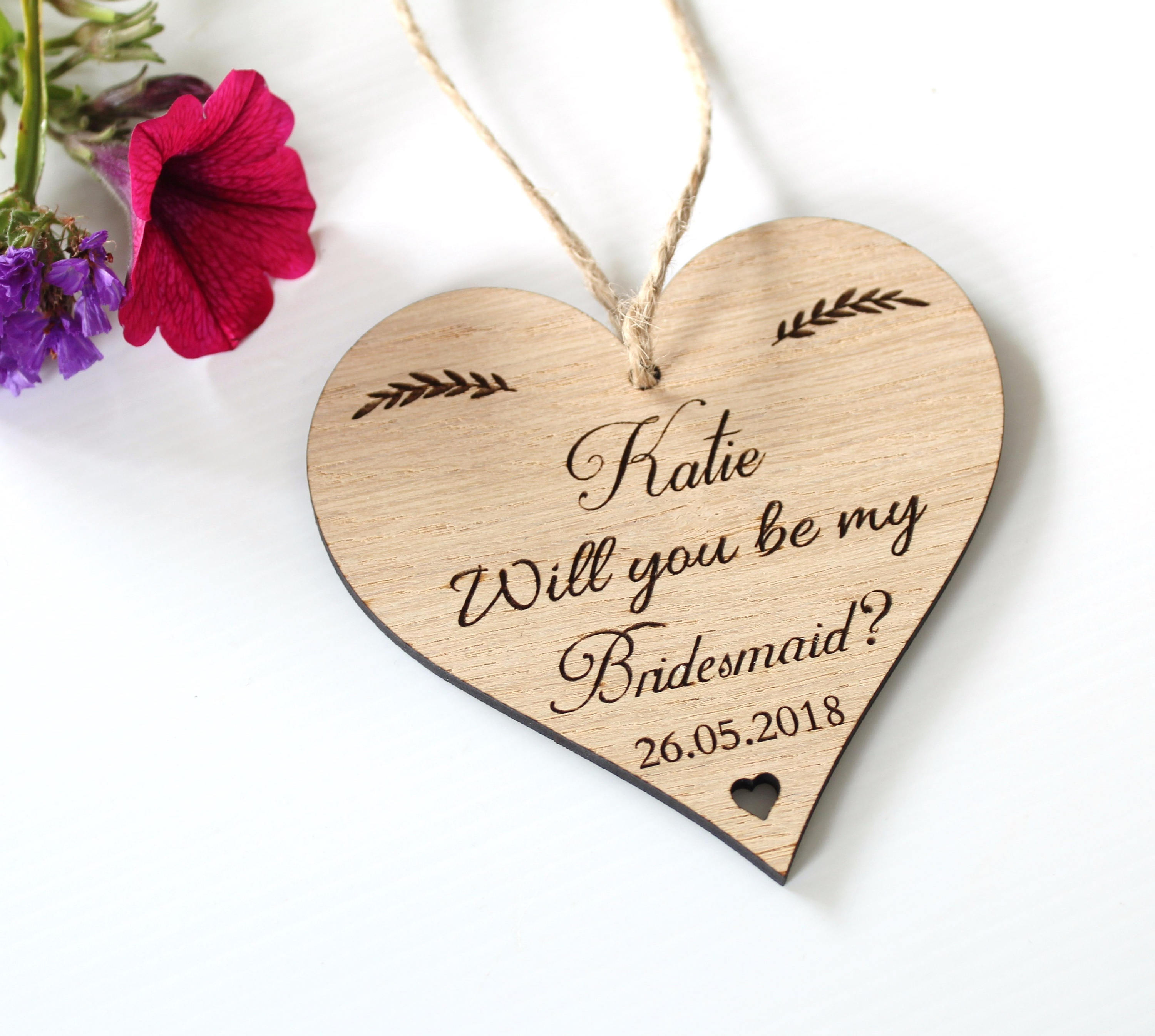 Will you be my Bridesmaid Gift? Will you be my Maid of Honour Gift? Will you be my flower girl Gift? Bridesmaid wooden heart plaque, Wedding