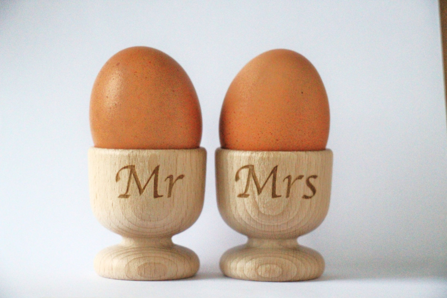 Wooden Egg Cups, Mr & Mrs Egg Cups