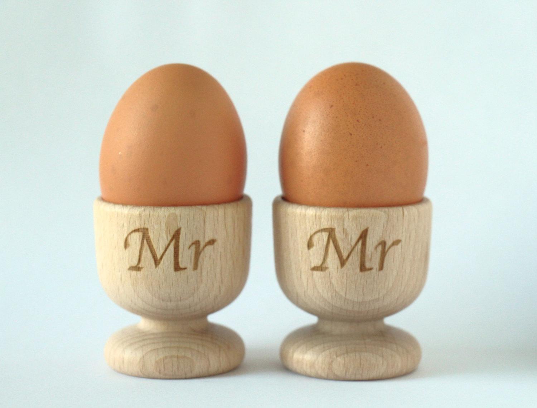 Wooden Egg Cups, Mr & Mrs Egg Cups